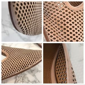 Frye Shoes - Frye Gwen Perforated Blush Leather Slide Sandals